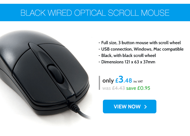 Xenta Black Wired Optical Scroll Mouse - USB