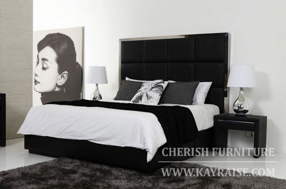Leather Bed With High Back Board In Modern Style