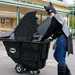 school custodian dressed as a superhero