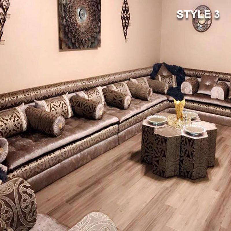 Style 3 Fabric Brown Color Arabic Majlis Sofa Floor Seating