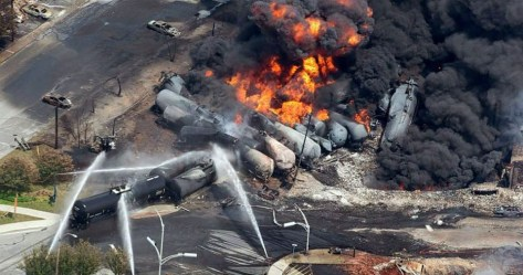 Aftermath of the tragic 2013 crude-by-rail explosion in Lac-Megantic, Quebec, which took 47 lives.