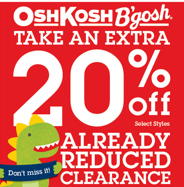 Take an extra 20% off already reduced clearance!
