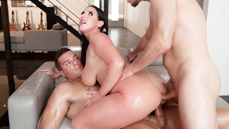 Buxom Angela White's Oily DP Threesome