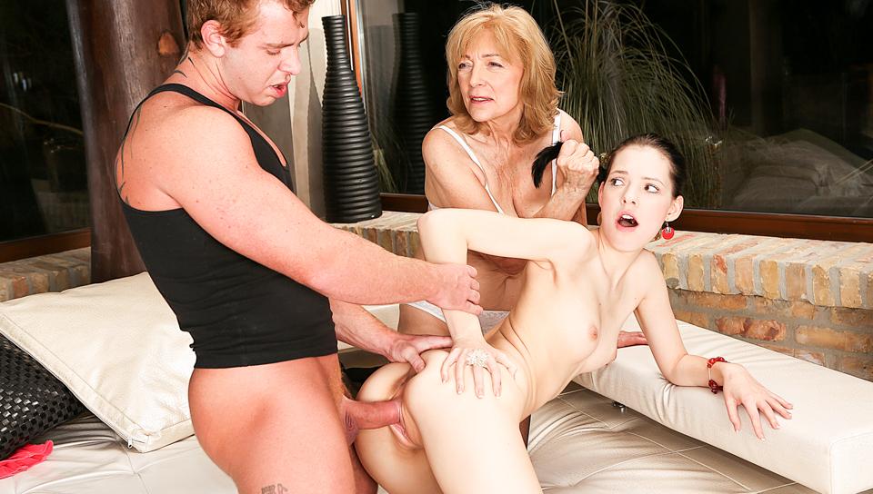 Age Play 3-Way: Young Anie & 69YO Slut
