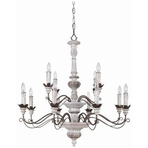 C35212awbd Rosedale Large Foyer Chandelier Antique White And Distressed Bronze