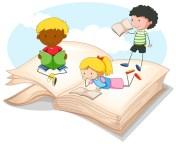 Troje Dzieci Czytających Storybook Darmowych Wektorów