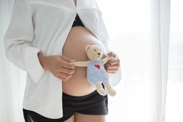 Mulher grávida segurando ursinho de pelúcia na barriga