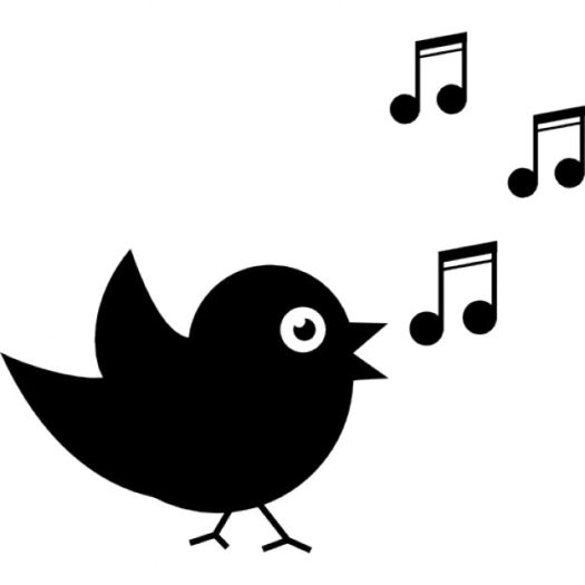 Bird singing with musical notes Icons | Free Download