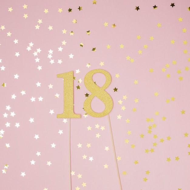 18th birthday with pink background