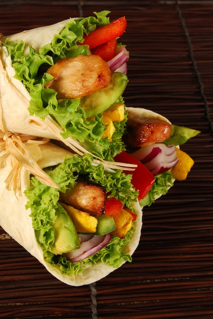 3 Rolled Sandwiches With Chicken And Avocado Photo Free