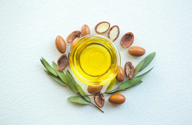 Argan seeds and oil isolated on a white background. argan oil nuts with plant. Premium Photo