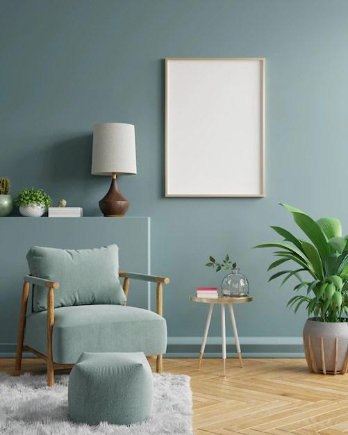 Premium Photo Blank Framed Wall Art In Modern Living Room Interior Design With Dark Green Empty Wall 3d Rendering