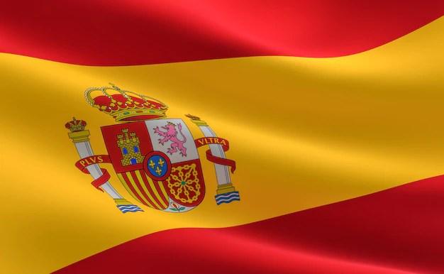 flag of spain. illustration of the spanish flag waving