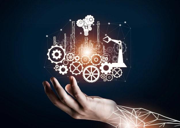Futuristic industry 4.0 engineering concept. Premium Photo