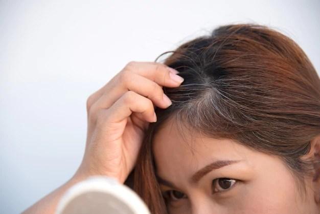 Gray hair and hair loss problem Premium Photo