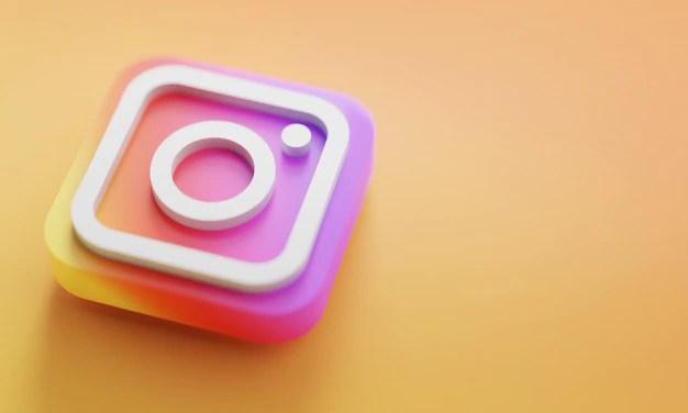 Instagram logo 3d rendering close up. account promotion template. Premium Photo