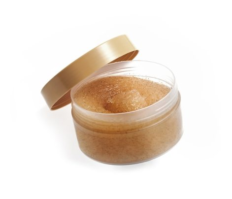 Jar of sugar scrub isolated on white Premium Photo