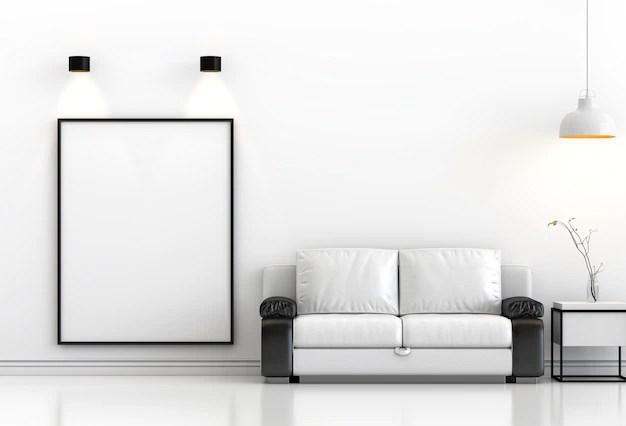 Mock up poster frame in hipster interior modern living ...