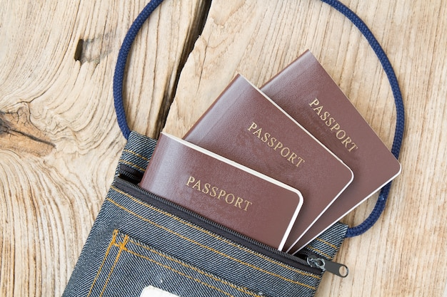 Passports well organized in a bag