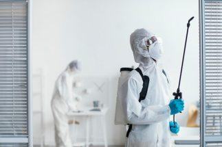 People disinfecting together a dangerous area Free Photo