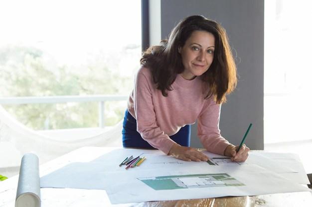 Free Photo Successful Architectural Designer Working At Her Studio