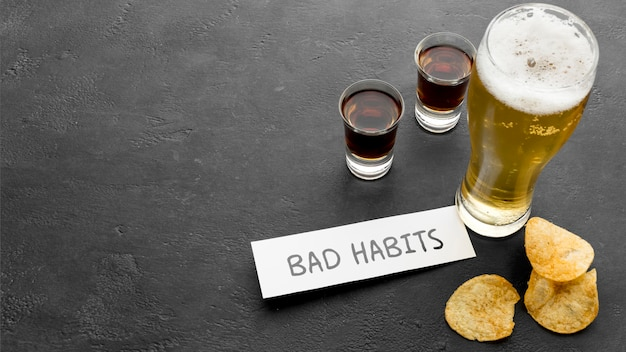 Unhealthy lifestyle with bad habits Free Photo