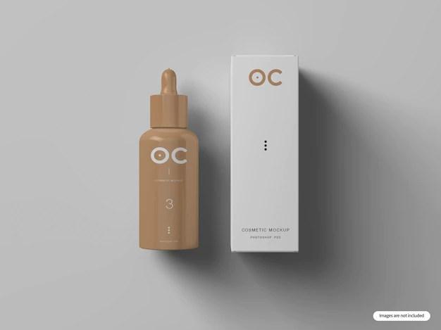 Download Cosmetic bottle & box mockup | Premium PSD File
