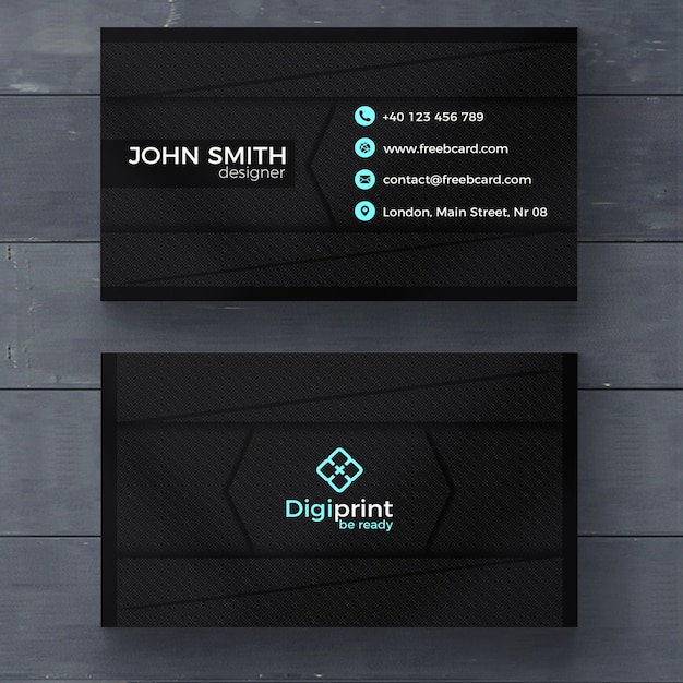 Dark business card template PSD file   Free Download Dark business card template Free Psd