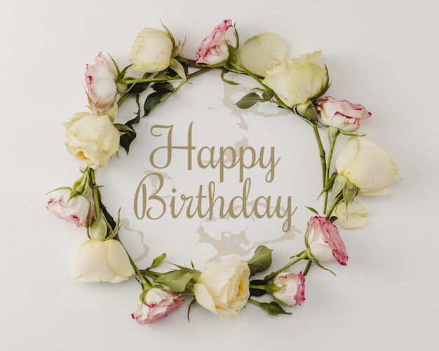 Free Psd Happy Birthday Mock Up And Wreath Of Flowers