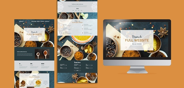 Indian Food Website Templates Collection Psd File Free