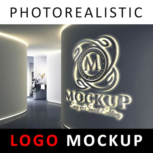 Download 3d Wall Logo Mockup Psd Download Yellowimages