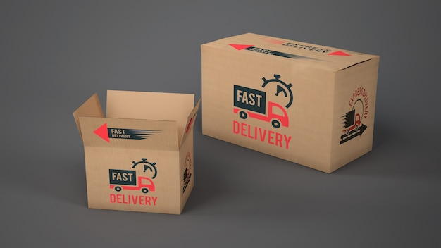Download Mockup of delivery boxes of different sizes PSD file ...