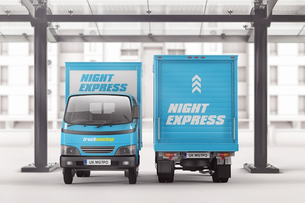 Download Small box truck front and back view mockup | Premium PSD File