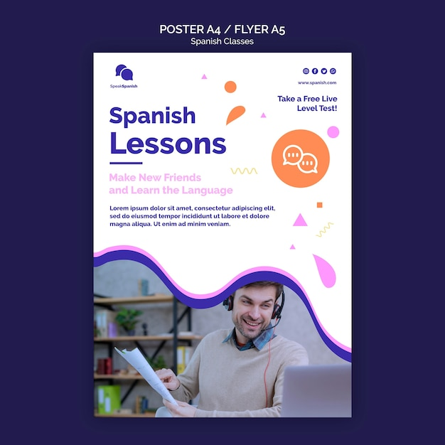 free psd spanish classes flyer template