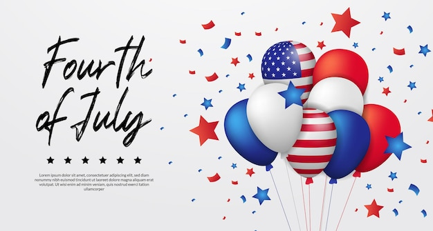 3d helium colorful balloon american flag with flying confetti and star for fourth july, 4th, american independence day banner Premium Vector