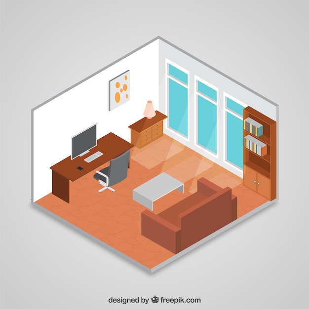 3d Isometric Room Vector Free Download