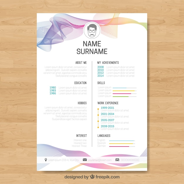 Abstract curriculum template with colorful waves Free Vector