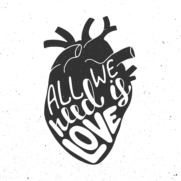 Download All we need is love in black anatomic heart Vector ...