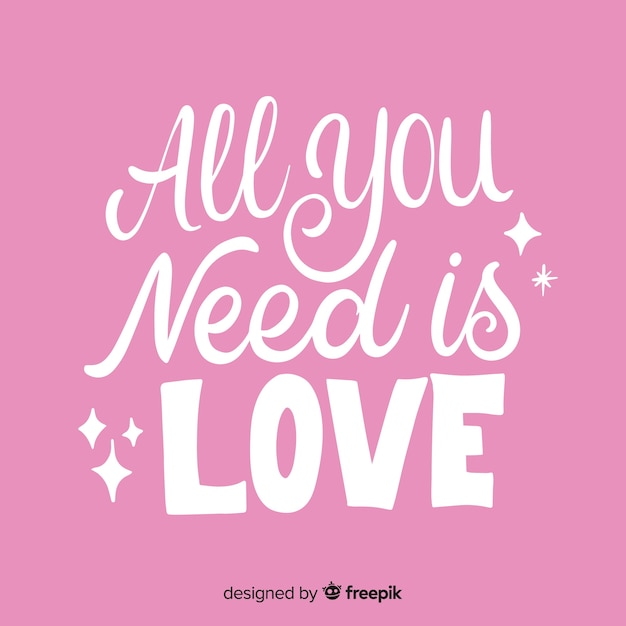 Download All you need is love lettering   Free Vector