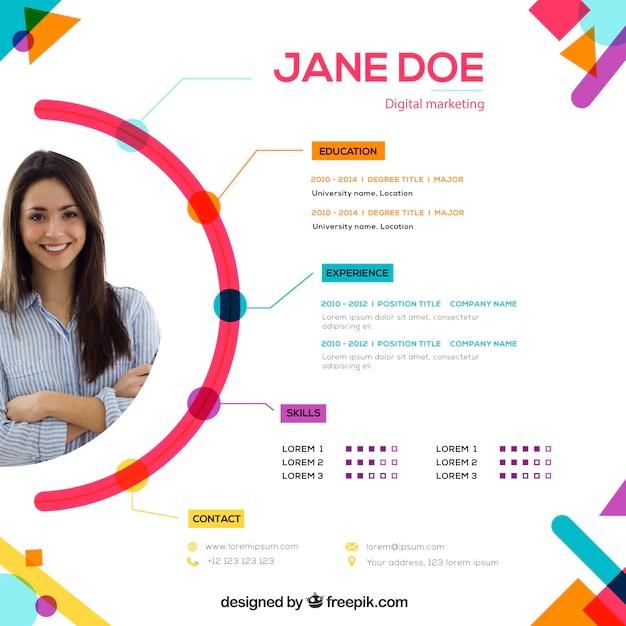 Attractive online curriculum template Premium Vector
