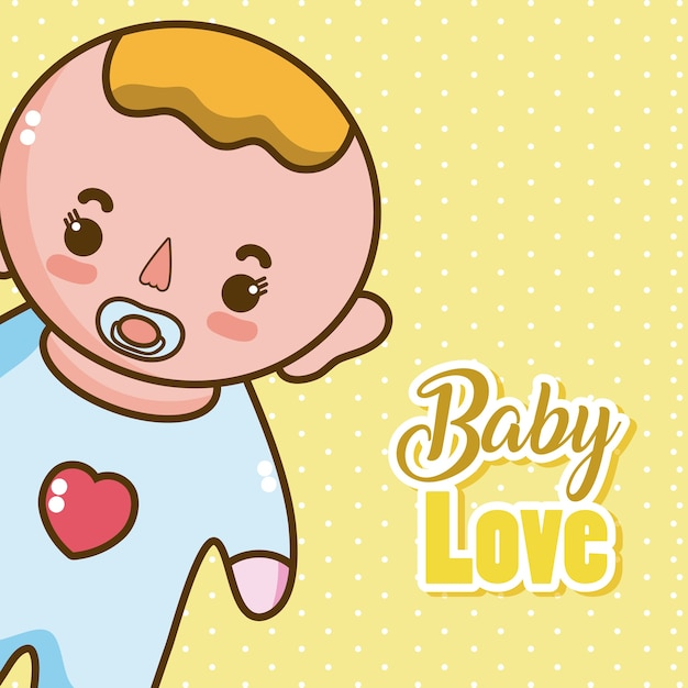 Baby love card with cute cartoons Vector | Premium Download