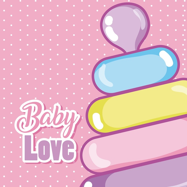 Download Baby love cartoons with puzzle tower | Premium Vector