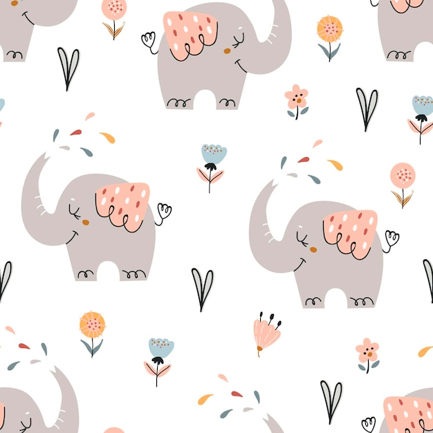 Premium Vector Baby Seamless Pattern With Cute Elephants Pattern For Bedroom Wallpaper Kids And Baby Wear
