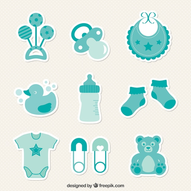 baby shower stickers vector free download baby shower icons