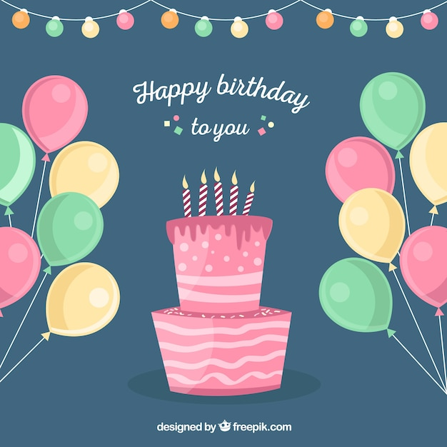 Balloons And Birthday Cake Background Stock Images Page Everypixel