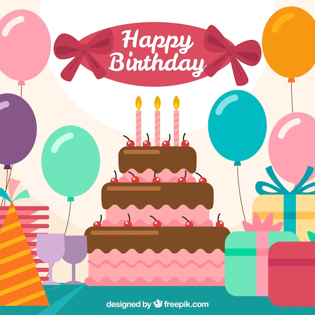 Balloons Background With Birthday Cake Stock Images Page Everypixel