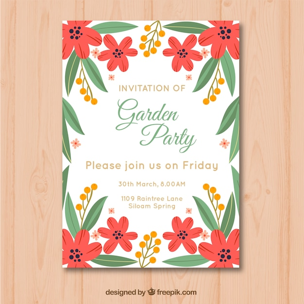 Beautiful Garden Party Invitation Template Free Vector