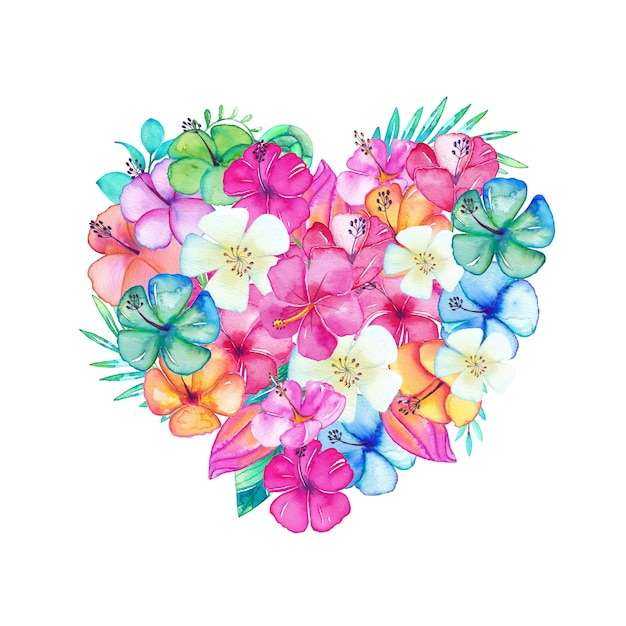 Beautiful heart filled with watercolor flowers and leaves Premium Vector