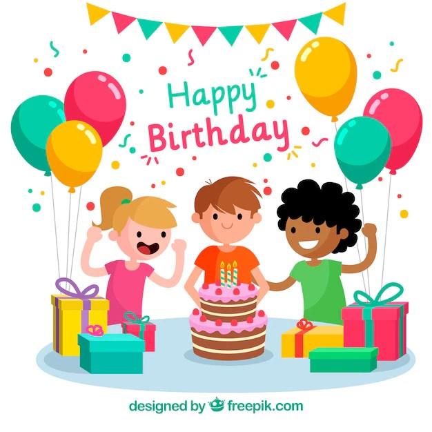 Free Vector Birthday Celebration Background With Children
