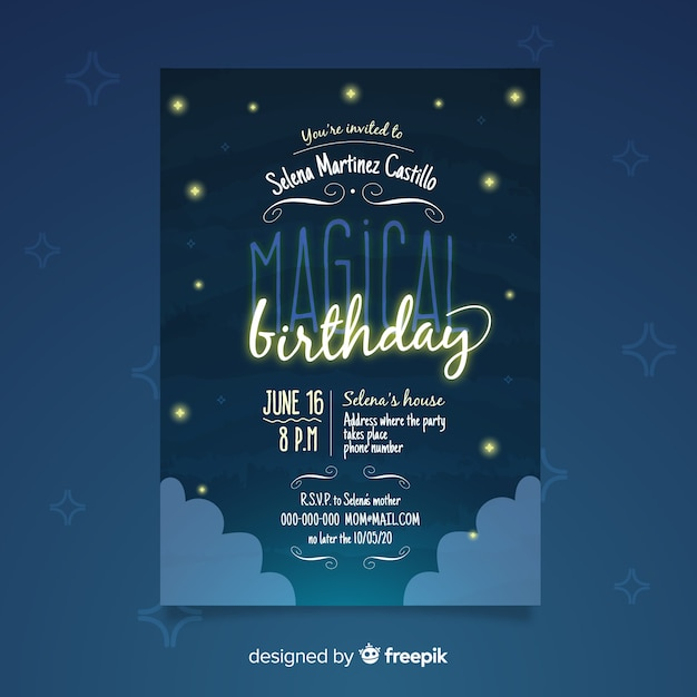 birthday party invitation template with